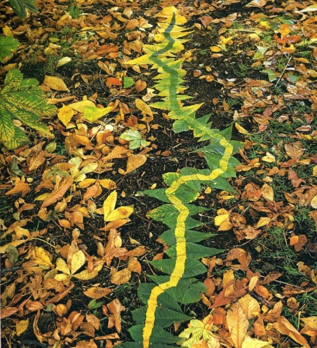 creative art ideas green leaves andy goldsworthy
