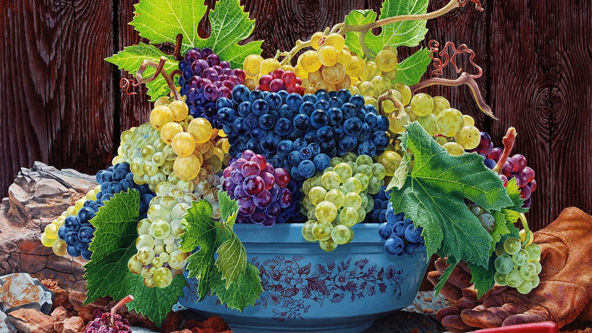 still life oil paintings grape bowl eric wert