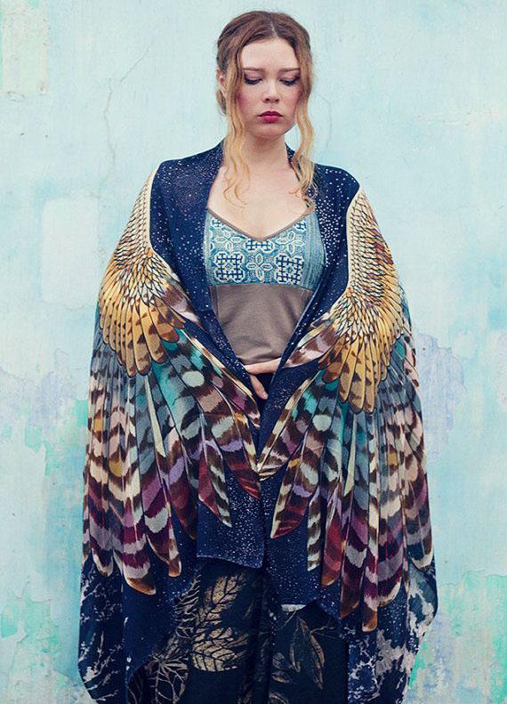 blue wings scarf art