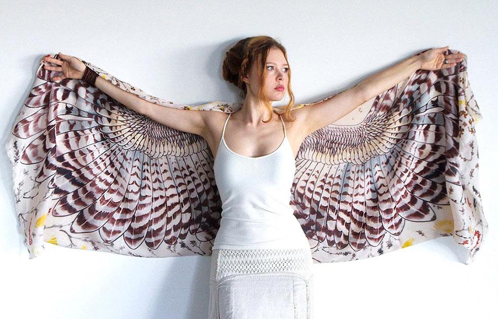 brown wings scarf art 1