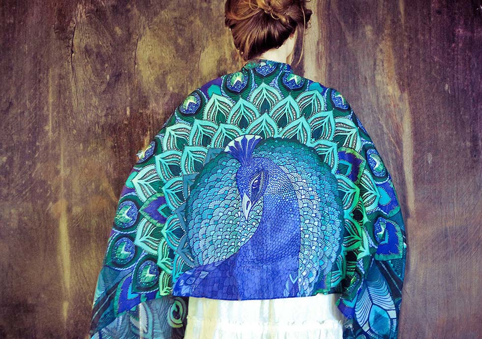 peacock scarf art