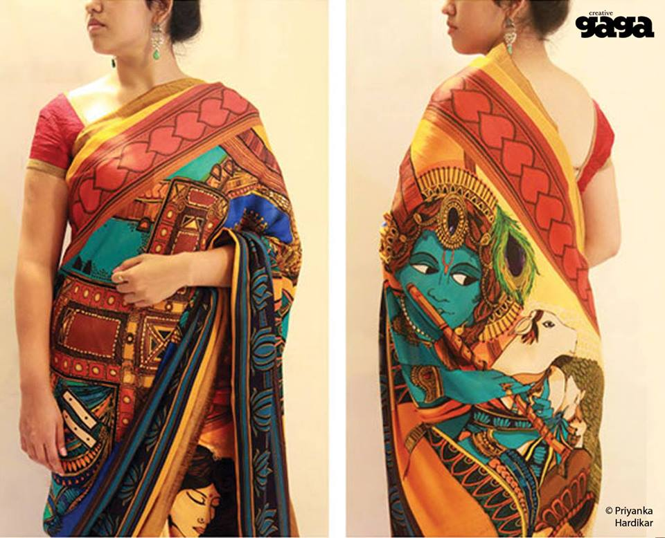 15 Beautiful Saree Mural Paintings and Mural Artworks