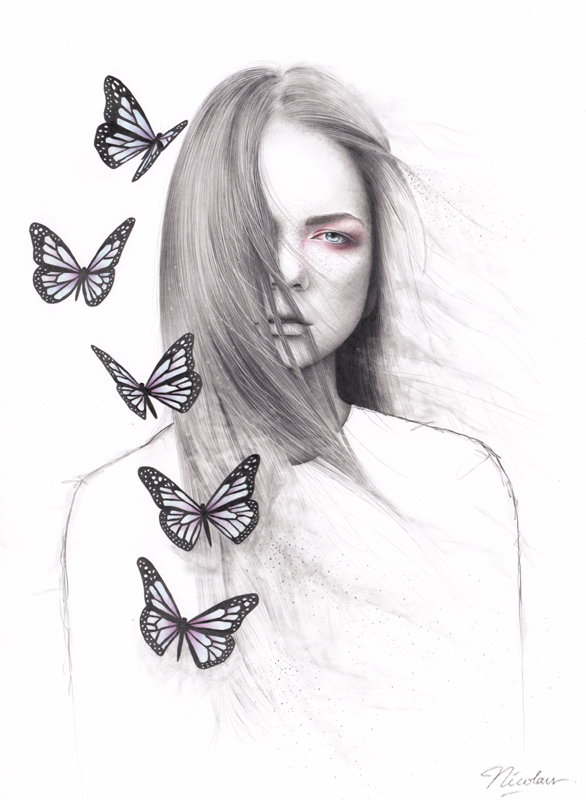 woman butterfly pencil drawings by nicolaus ferry