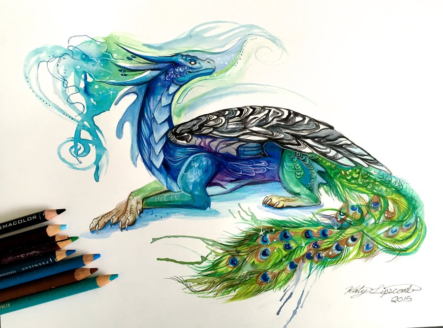 peacock dragon animal drawings by katy lipscomb