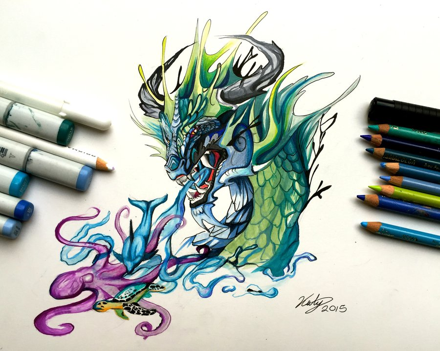 ocean dragon animal drawings by katy lipscombg