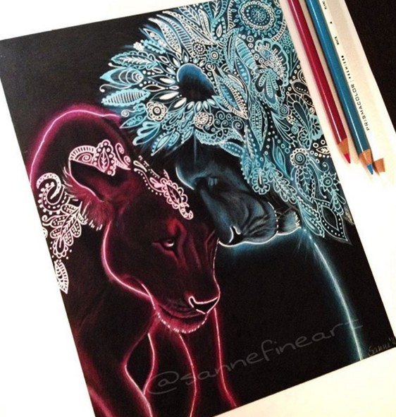tiger lion color pencil drawings by sanne
