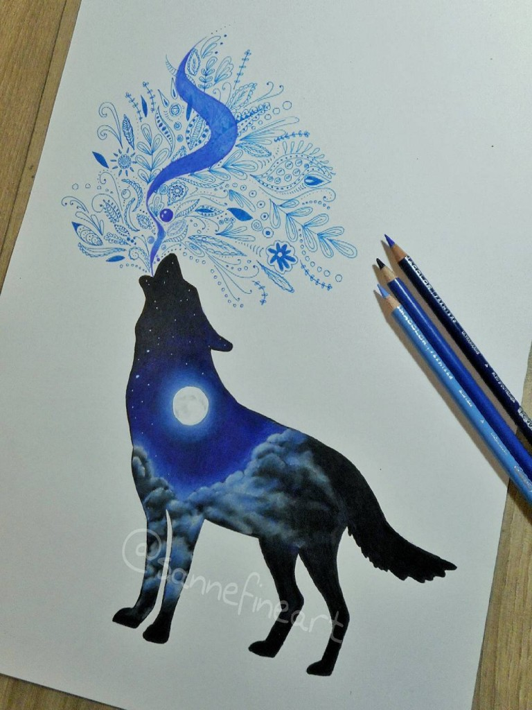 fox coolor pencil drawings by sanne