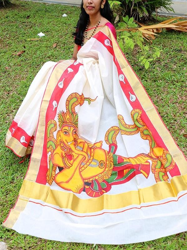 ganesha saree mural painting
