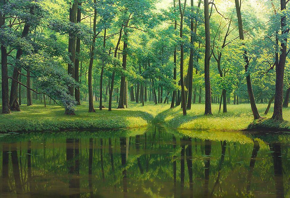 2 nature lake realistic scenery painting by jung hwan
