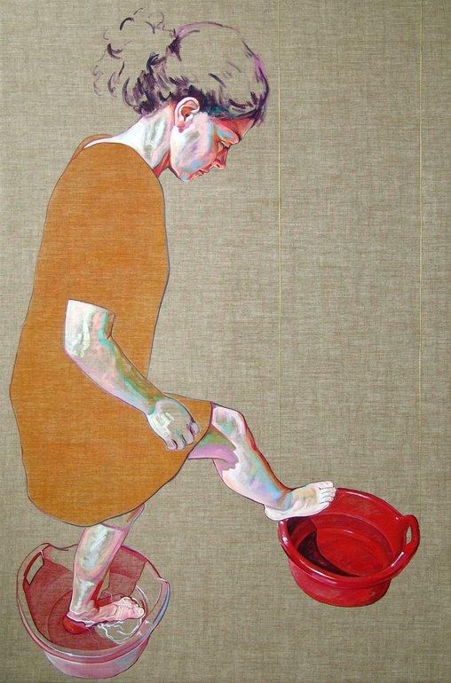 woman portrait acrylic painting by cristina troufa