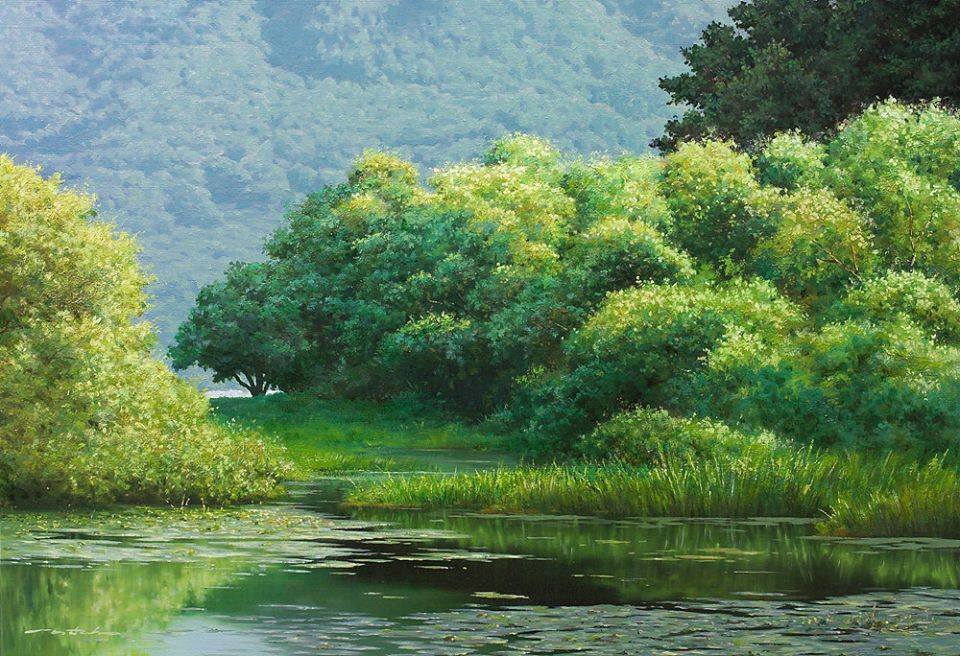 3 nature lake realistic scenery painting by jung hwan