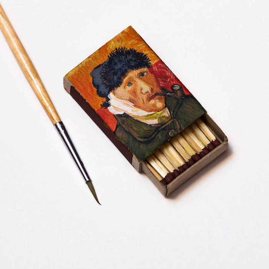 bandaged ear pipe miniature painting matchbox by salavat fidai