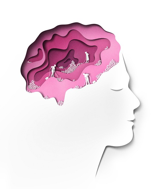 brain sleep clean paper art by eiko ojala