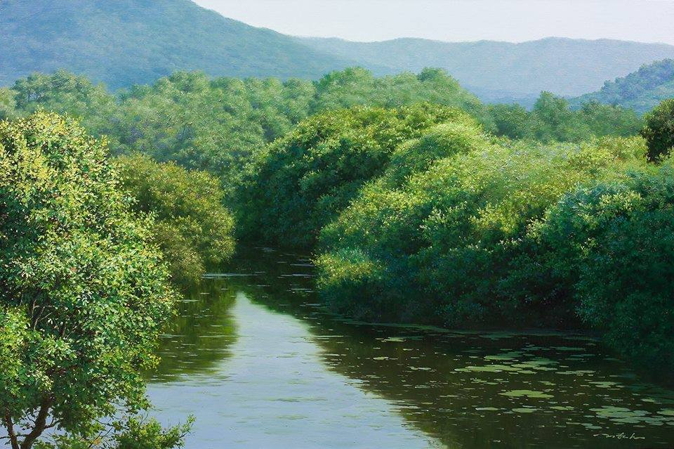 5 nature lake realistic scenery painting by jung hwan