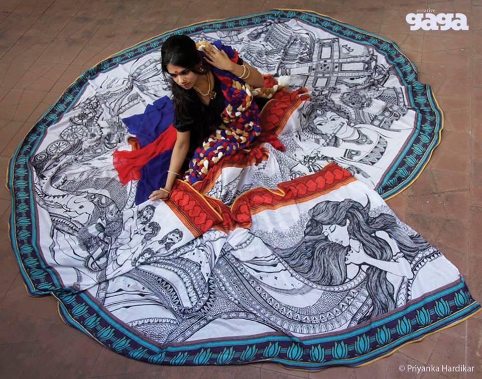 saree mural painting by priyanka hardikar