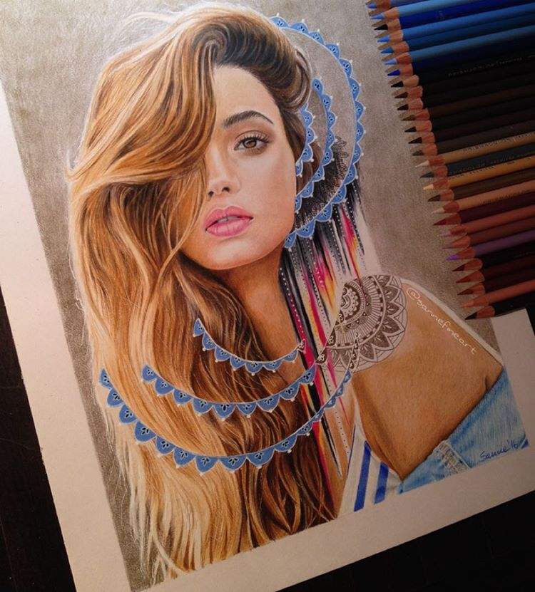 woman color pencil drawings by sanne