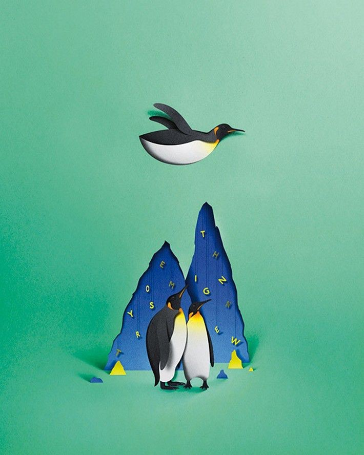 penguin bird paper art by eiko ojala