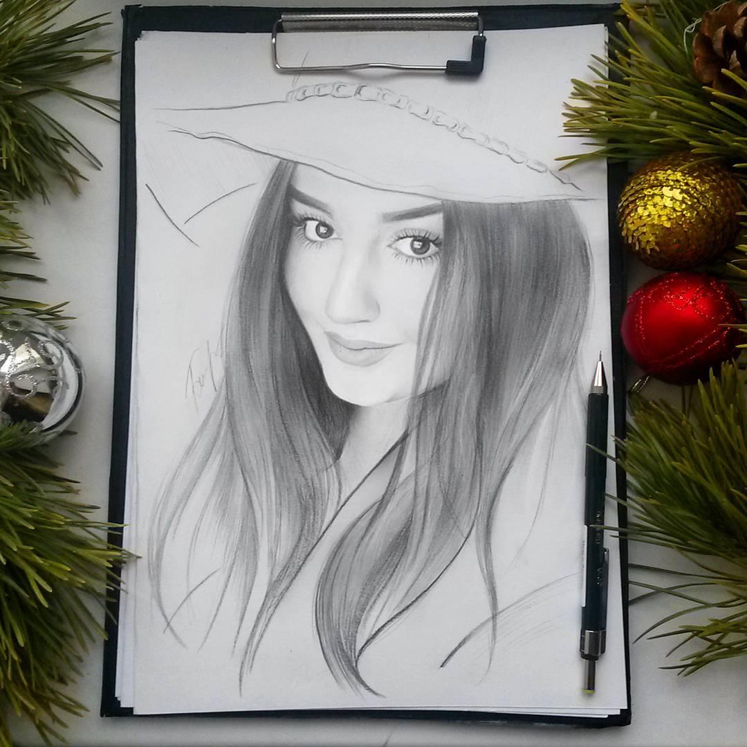7 decorated woman portrait pencil drawings by vita biryulina