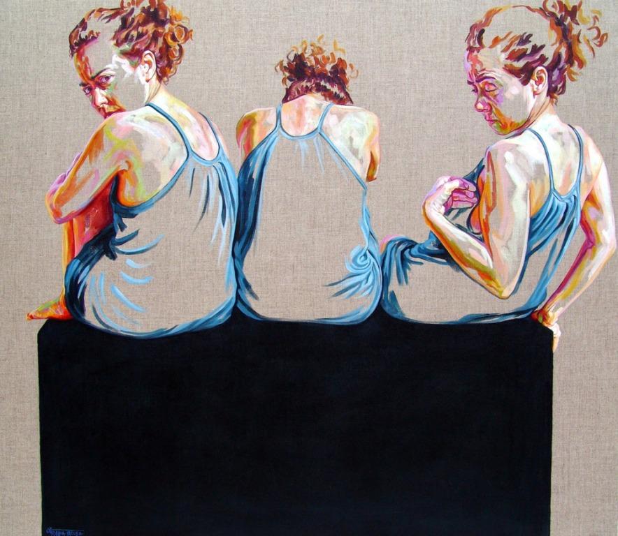 women portrait acrylic painting by cristina troufa