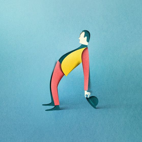 man bending paper illustration by eiko ojala