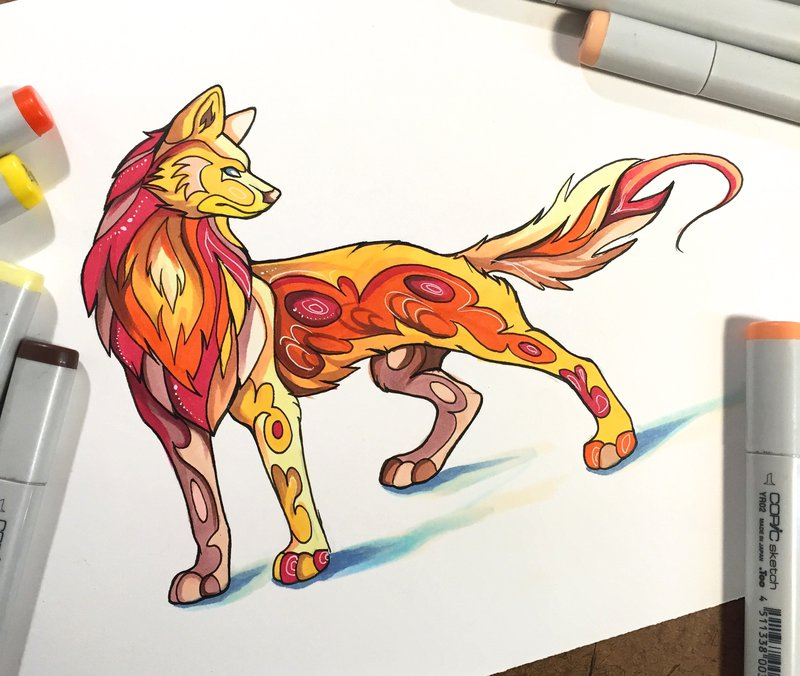 fire wolf animal drawings by katy lipscomb