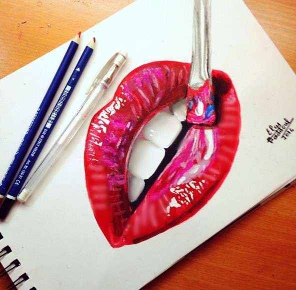 lips color pencil drawings by elcy faddoul