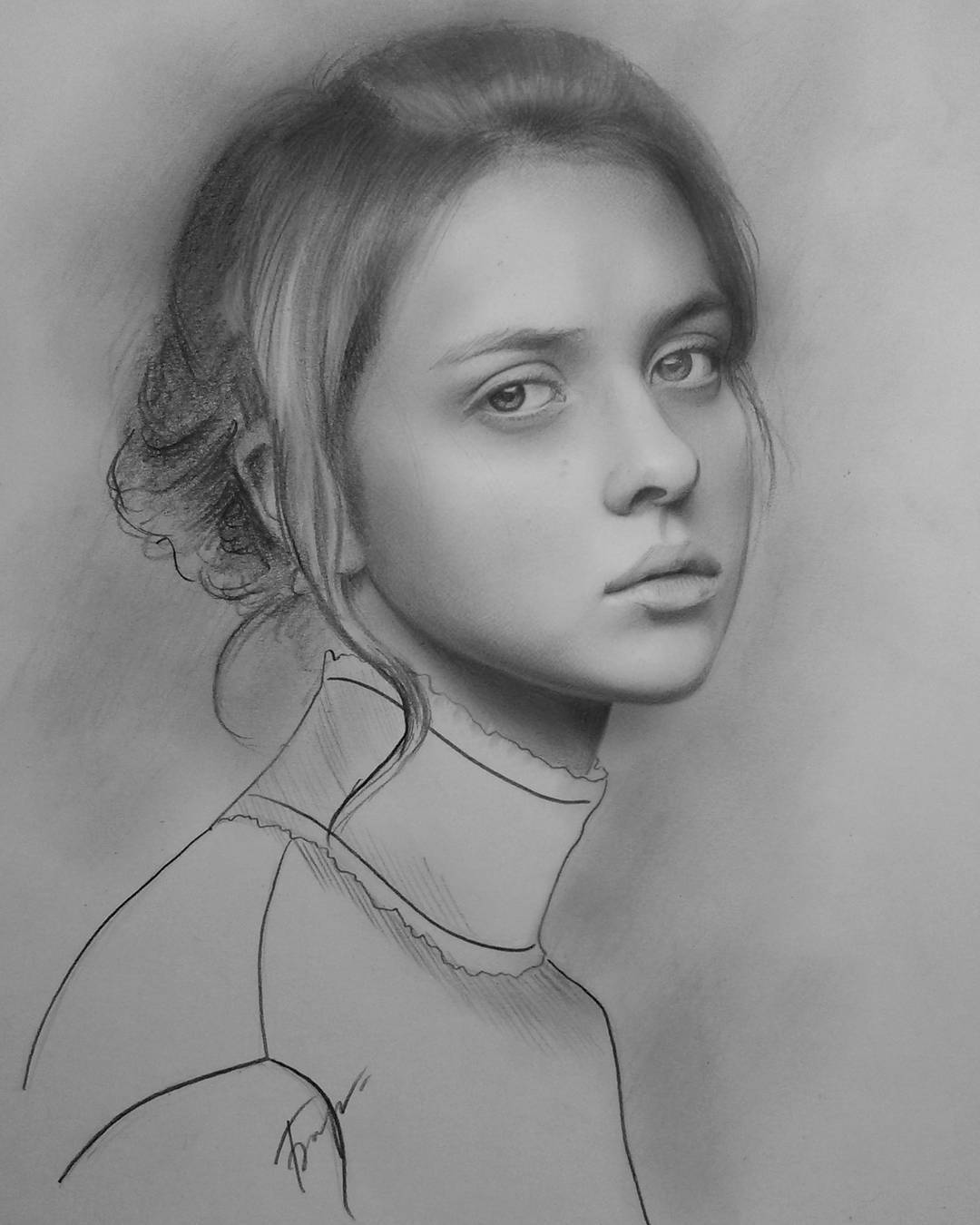 9 woman portrait pencil drawings by vita biryulina