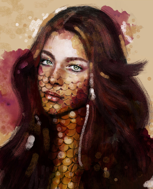 goldfish lady portrait paintings by eman zogbi