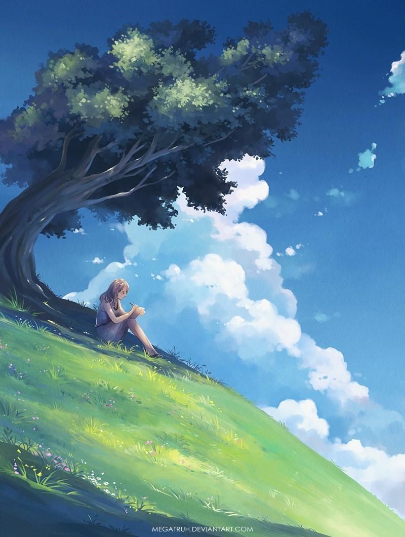 under tree upon hill digital art by niken anindita