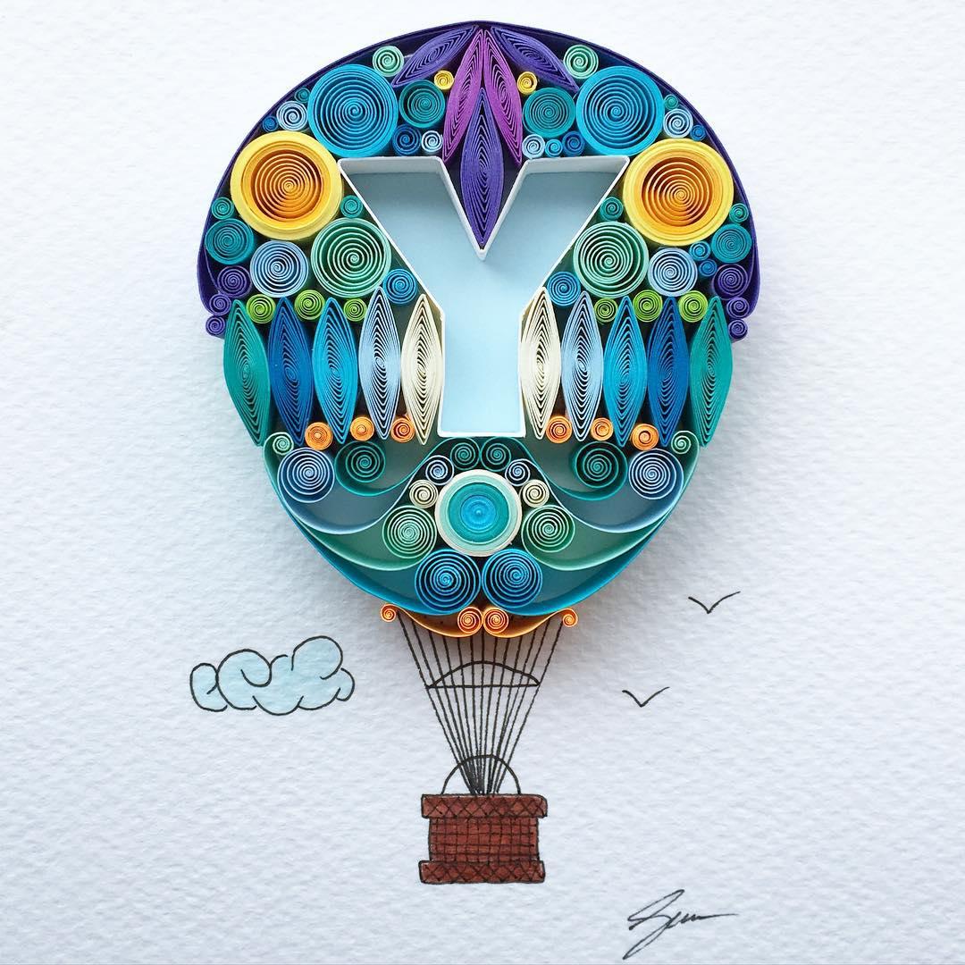 air balloon quilling art by sena runa