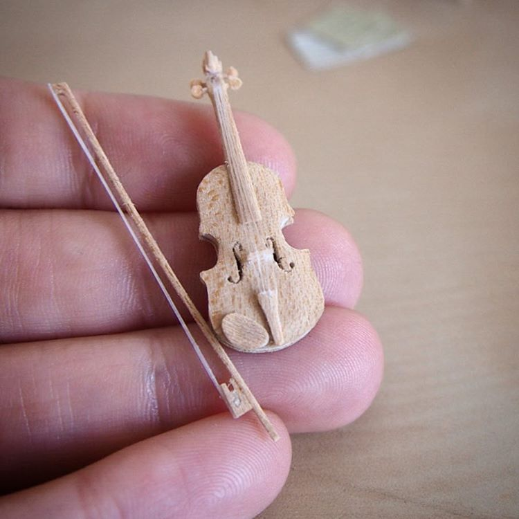 violin miniature sculptures by emily boutard