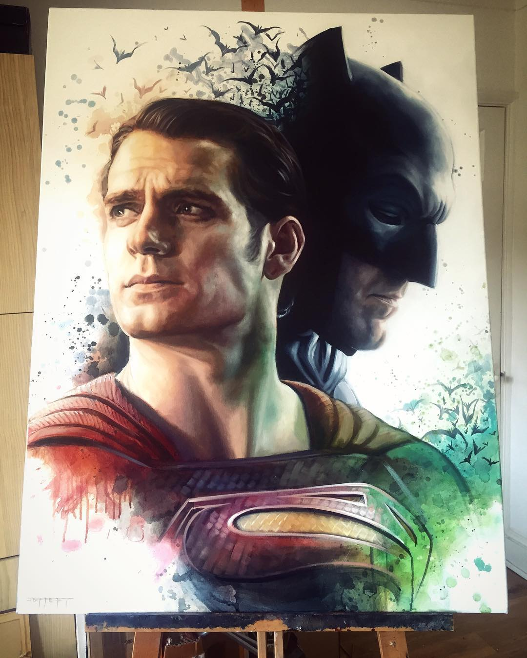 superman batman super heros acrylic paintings by ben jeffery