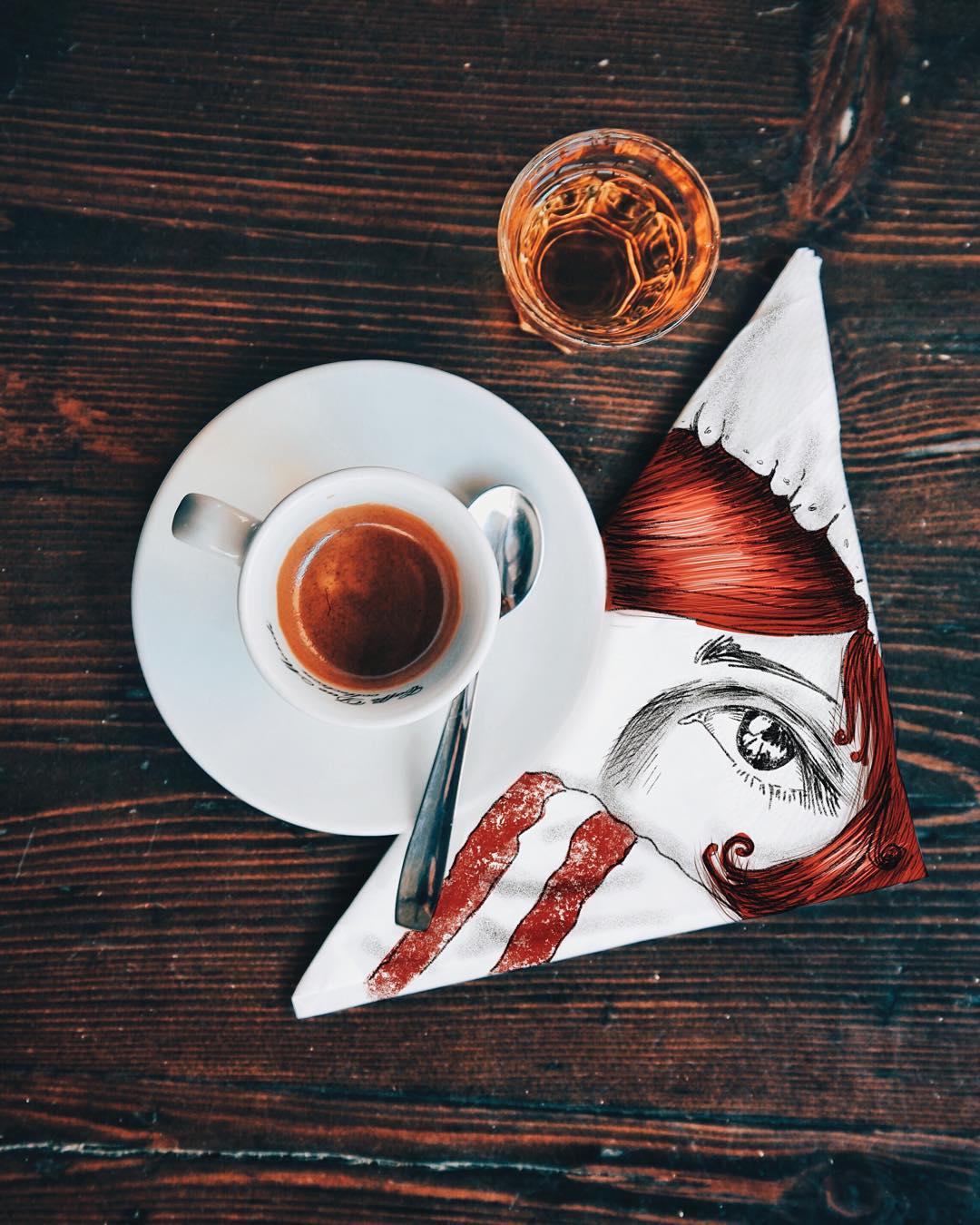 coffee girl creative drawings by cinzia bolognesi