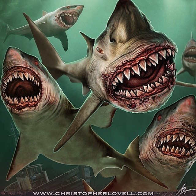 shark surreal artworks by christopher lovell