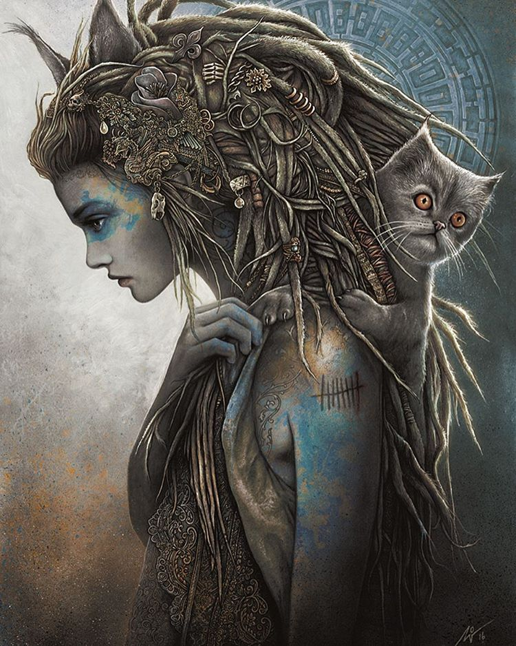 woman cat surreal artworks by christopher lovell