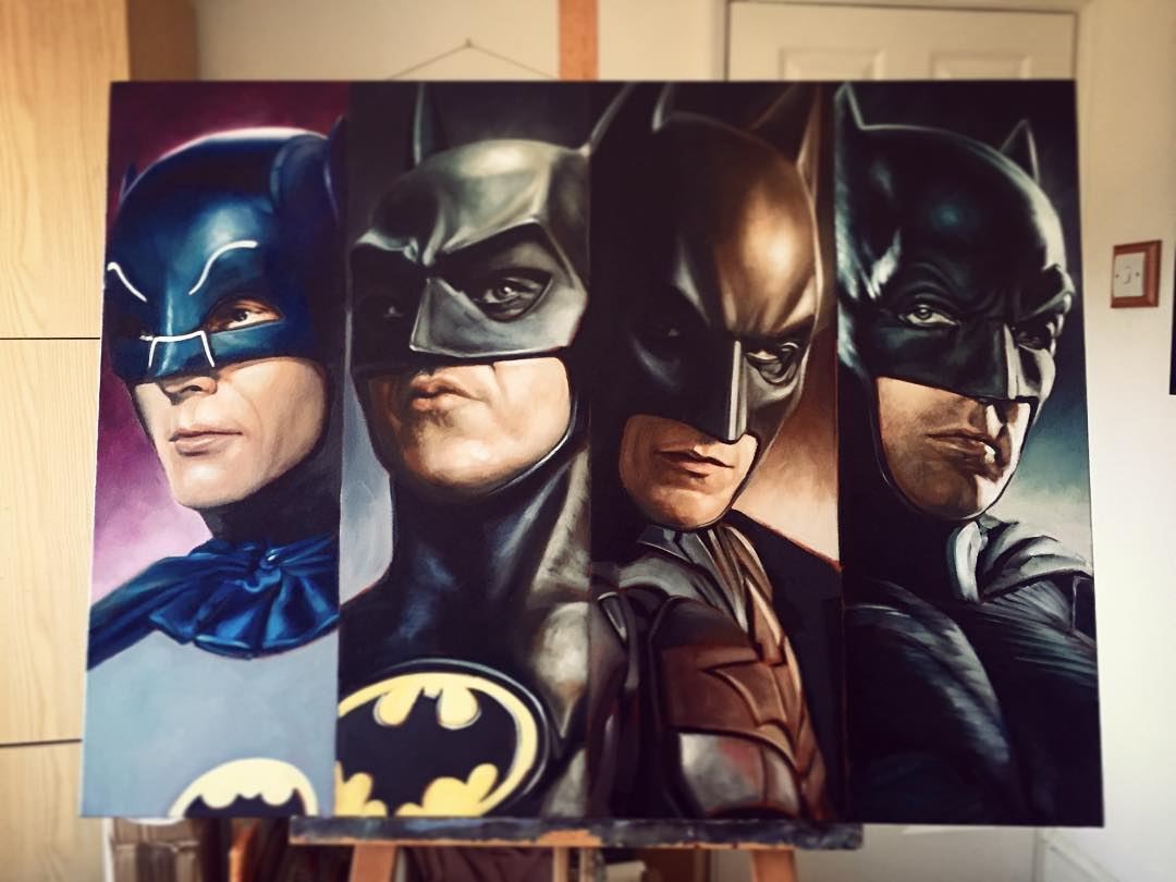 batmen super heros acrylic paintings by ben jeffery