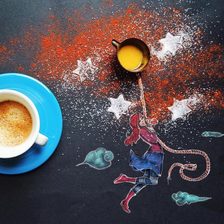 coffee moon creative drawings by cinzia bolognesi