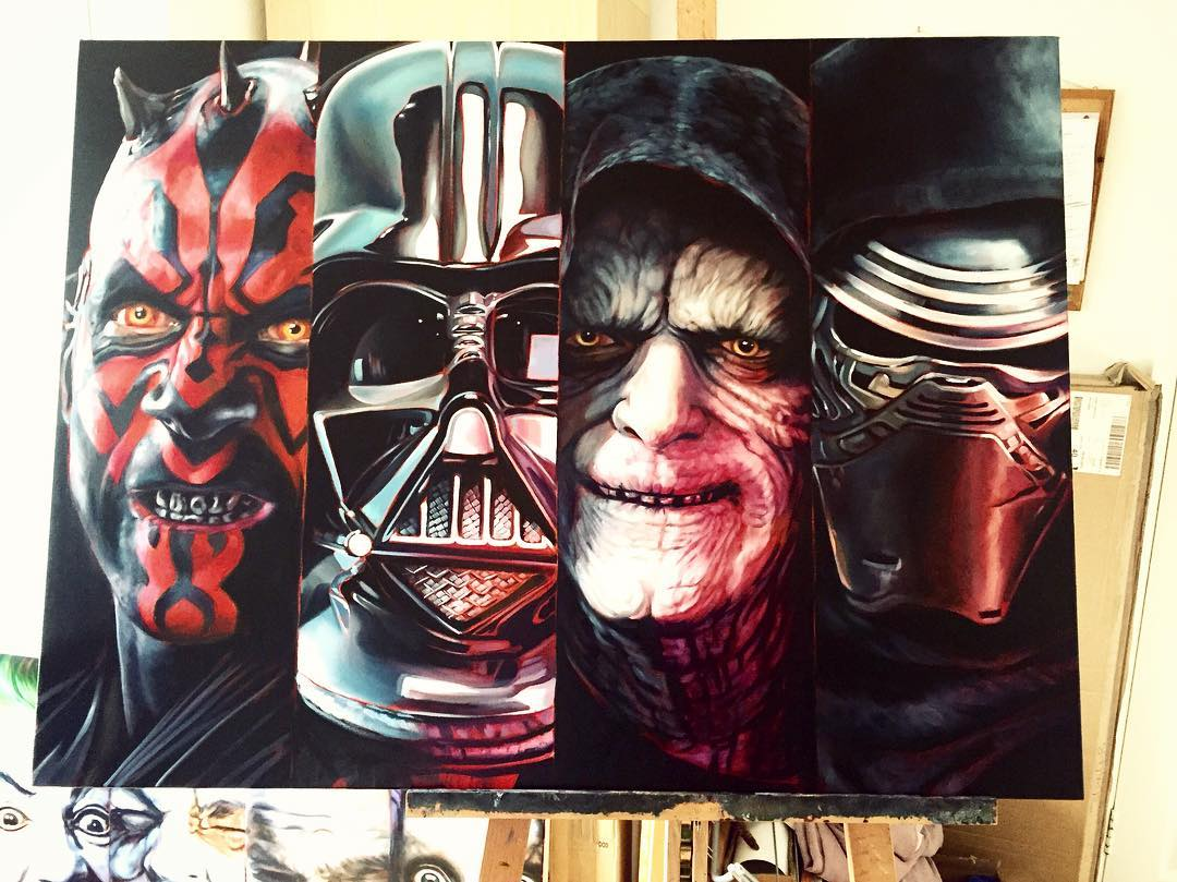 dark side super heros acrylic paintings by ben jeffery
