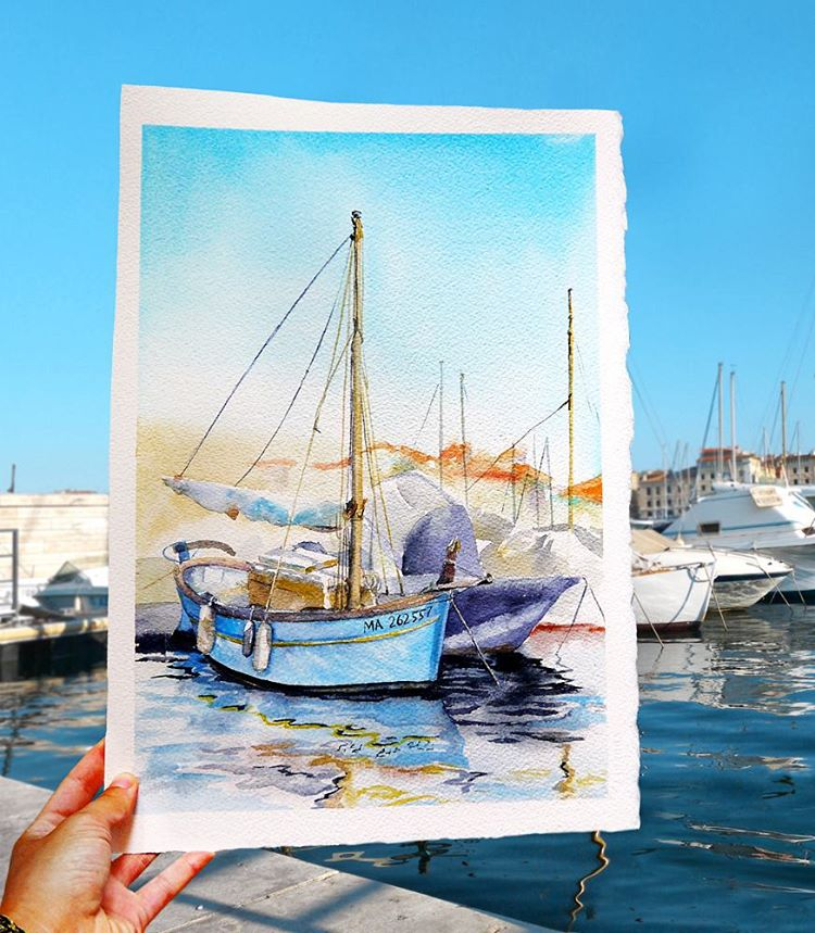 sailing yacht watercolor paintings by elena efremova