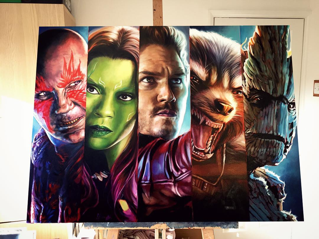 guardians galaxy super heros acrylic paintings by ben jeffery