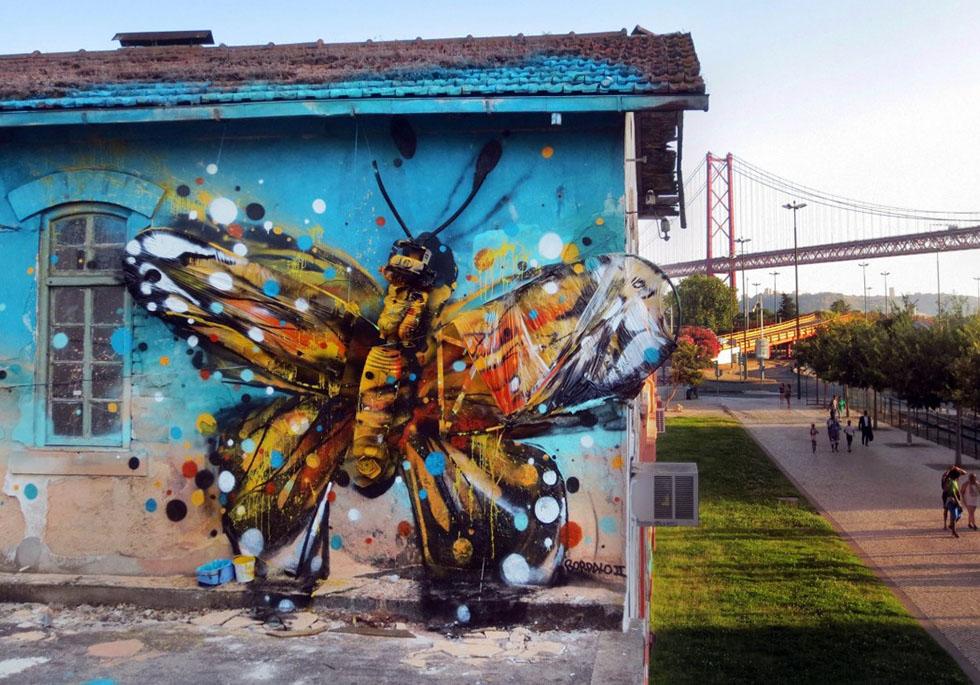 butterfly street art by bordalo