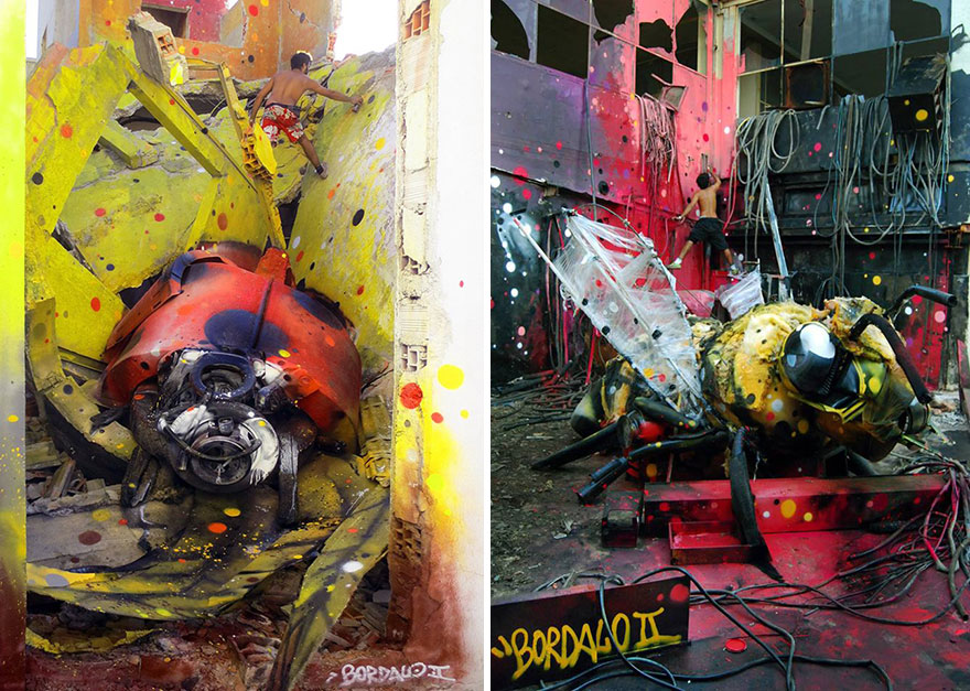 insects street art by bordalo