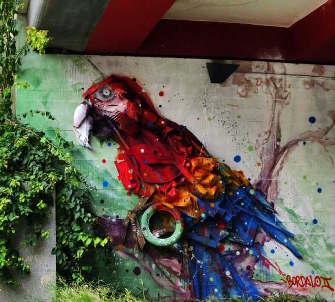 parrot street art by bordalo