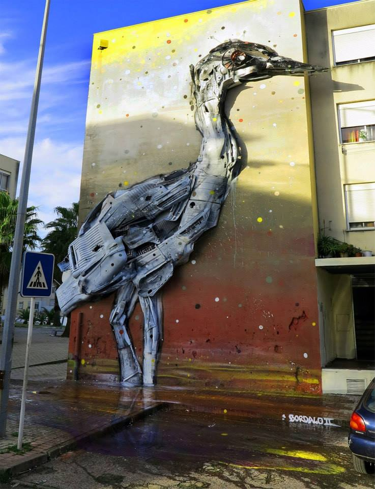 swan street art by bordalo
