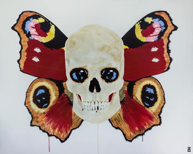 butterfly skull painting emma sheldrake