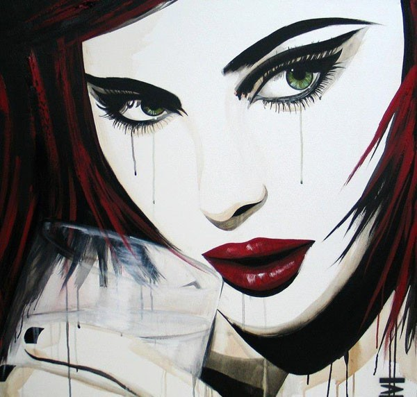 drinking girl painting emma sheldrake