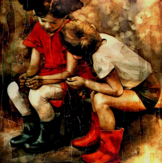 friends oil painting lidia