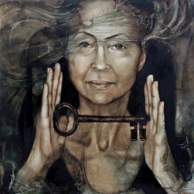 key lady oil painting lidia