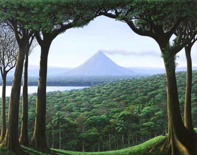 volcano forest oil painting tomás sánchez