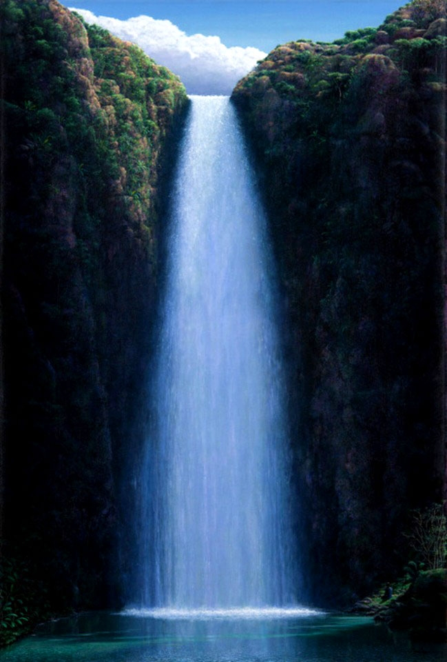 waterfall oil painting tomás sánchez